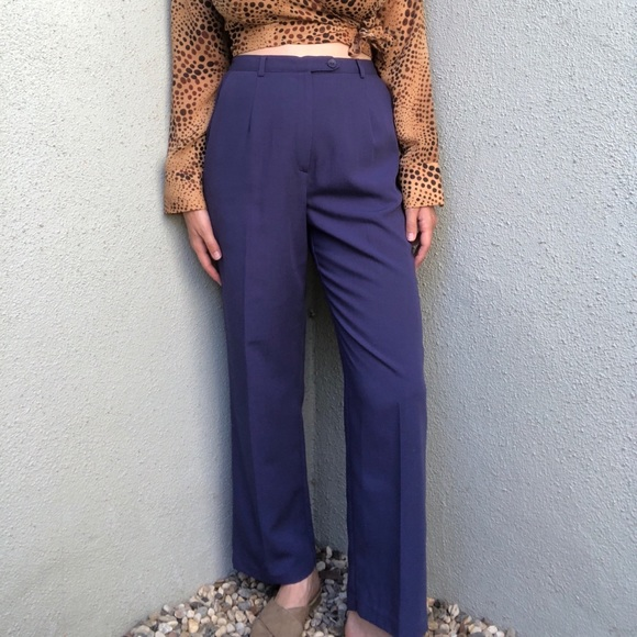 Vintage Pants - [vintage] high waist periwinkle trousers